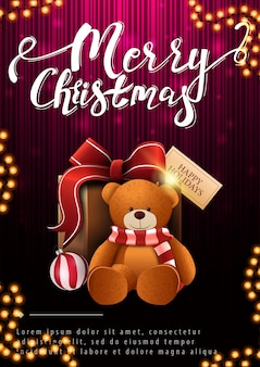 Frohe weihnachten, vertikale illustration mit geschenk und teddybär