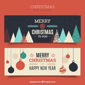 Frohe weihnachten vintage banner