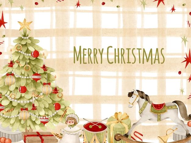 Frohe weihnachten vintage baum und spielzeug aquarell gelb tartan hintergrund kartenvorlage