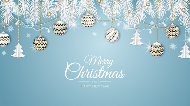 Frohe weihnachten web banner, gold und rote weihnachtskugel. hintergrund für einladung oder jahreszeitengruß.