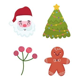Frohe weihnachten, weihnachtsbaum-lebkuchenplätzchen und stechpalmenbeerenikonenvektorillustration