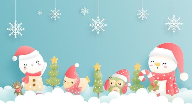 Frohe weihnachten, weihnachtskarte, banner mit vintage-schneemann.