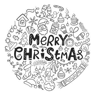 Frohe weihnachten weihnachtskarte mit schriftzug und kritzeleien vektor-illustration im doodle-stil