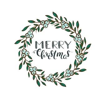 Frohe weihnachten weihnachtskranz mit grünen blättern und weißen beeren weihnachtsgrußkarte