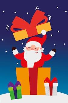 Frohe weihnachten, weihnachtsmann, der geschenk in der schneefeierdekorationsillustration herauskommt