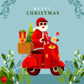 Frohe weihnachten weihnachtsmann reiten roller vektor-illustration