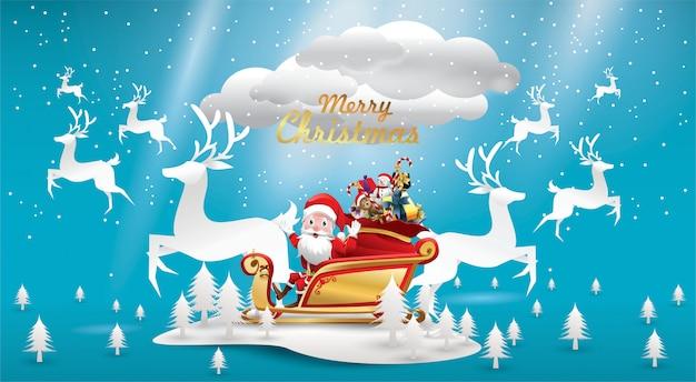 Frohe weihnachten weihnachtsmann reitet rentieschlitten