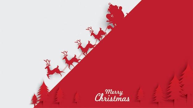 Frohe weihnachten weihnachtsmann rentierpferdeschlittenpapierkunst