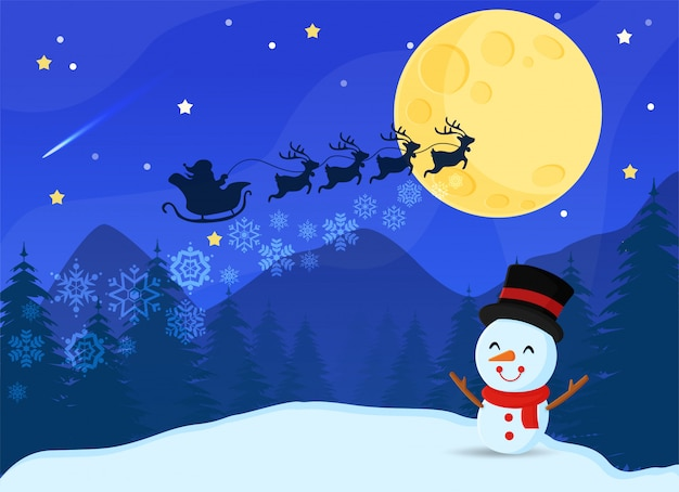 Frohe weihnachten. weihnachtsmann und rentier durch den mond, um kindern zu weihnachten geschenke zu geben
