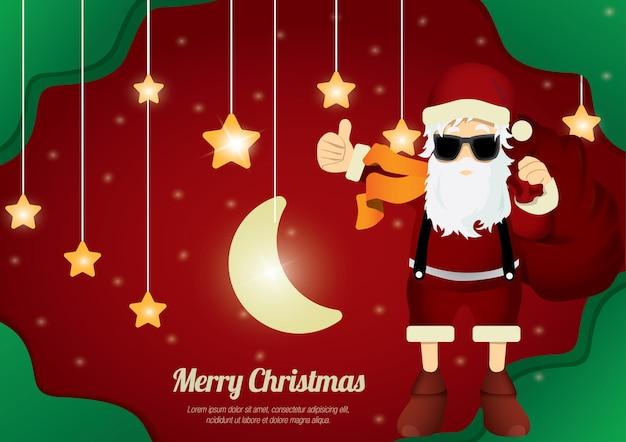 Frohe weihnachten weihnachtsmann wie daumen hoch mit hängendem stern und mond