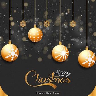 Frohe weihnachten weiße hintergrundfahne mit goldenen realistischen dekorationselementen vector