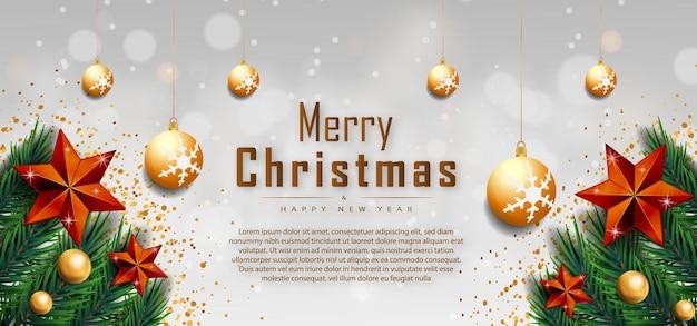 Frohe weihnachten weißer hintergrund banner text mit goldenen realistischen dekorationselementen vector