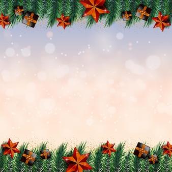 Frohe weihnachten weißer hintergrund rahmen mit goldenen realistischen dekorationselementen vector