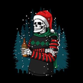 Frohe weihnachten winter-schädel-vektor-illustration