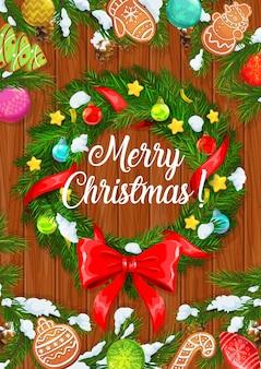 Frohe weihnachten, winterferien weihnachtsbaumkranz mit kugelschmuck und roter schleife.