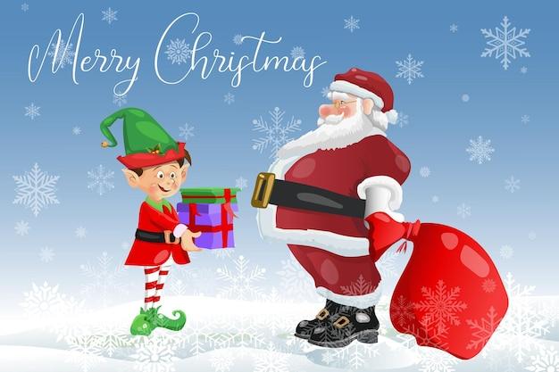 Frohe weihnachten wintergrußkarte weihnachtsmann mit elf