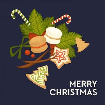 Frohe weihnachten, winterurlaub kekse und süßigkeiten