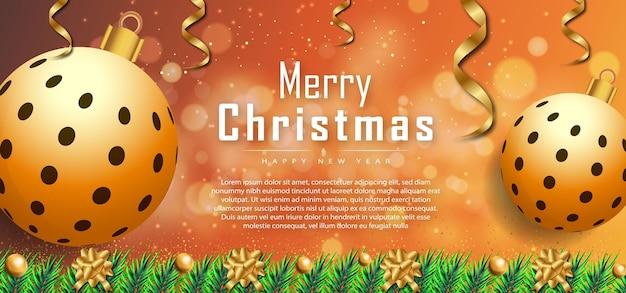 Frohe weihnachten-wunsch-text-hintergrund-banner mit realistischen weihnachtselementen premium-vektor