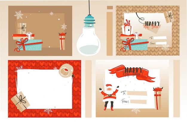 Frohe weihnachten zeitkarten und überraschungsgeschenkboxen lokalisiert auf weißem hintergrund