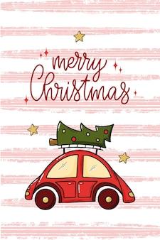 Frohe weihnachten-zitat verziert mit auto und baum