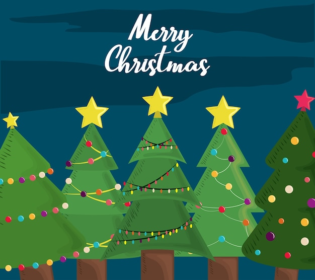 Frohe weihnachtsbäume grußkartendekoration und -feier