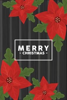 Frohe weihnachtsbeschriftung im quadratischen rahmen mit blumen im hölzernen hintergrund