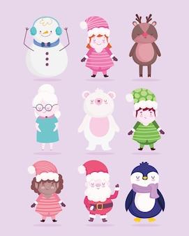 Frohe weihnachtsdekoration feier cartoon charakter illustration