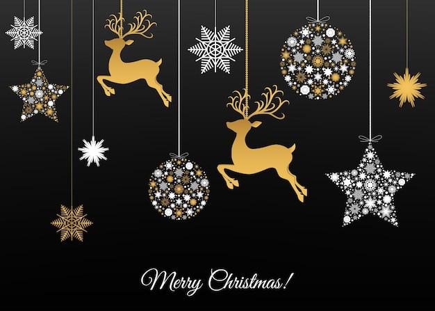 Frohe weihnachtsdekoration frohes neues jahr gold und weiße weihnachtskugel rentiere und schneeflocken
