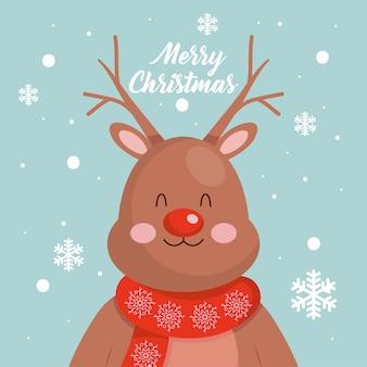 Frohe weihnachtsentwürfe mit weihnachtshirschikone über blauem hintergrund.