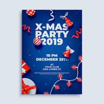 Frohe weihnachtsfeier layout plakat vorlage