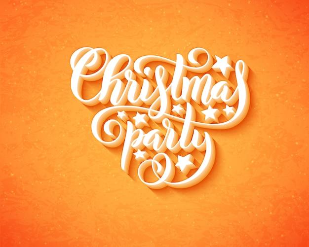 Frohe weihnachtsfeier mit handgezeichneten schriftzug