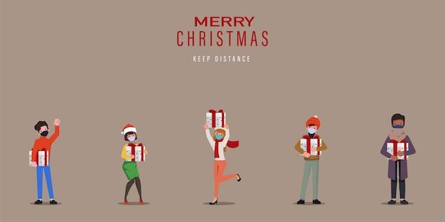 Frohe weihnachtsfeier neues normales konzept mit gesichtsmaske.