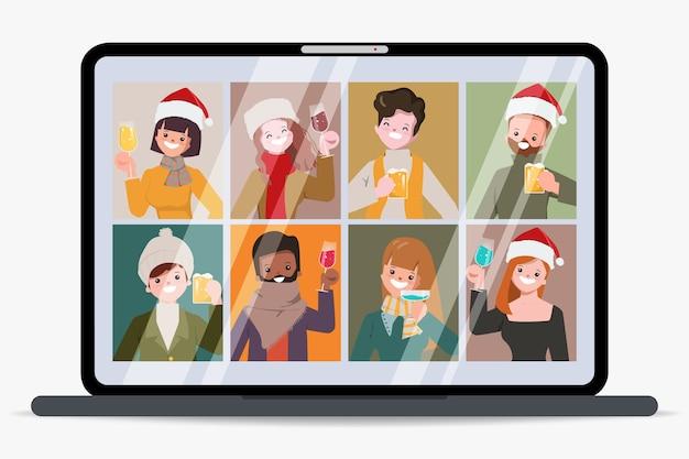 Frohe weihnachtsfeier neues normales konzept mit konferenz.