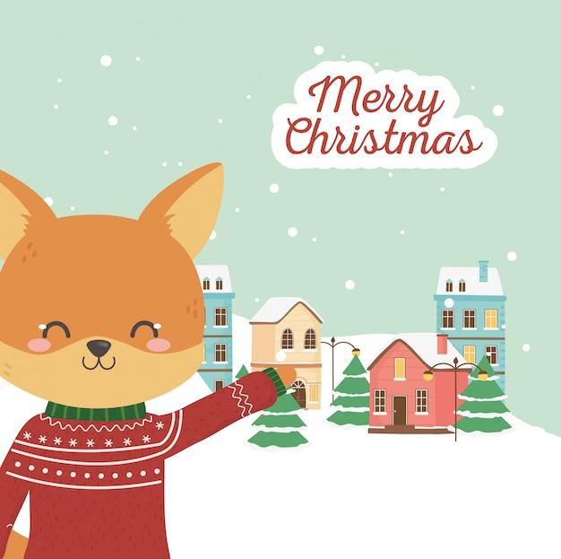 Frohe weihnachtsfeier niedlichen fuchs mit pullover stadt schnee
