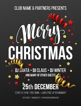 Frohe weihnachtsfeier-plakat. vektorillustration eps10