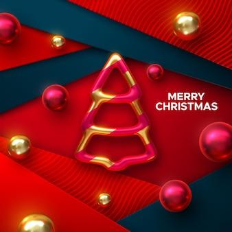 Frohe weihnachtsfeiertagsdekoration aus goldenem christbaumkugeln mit kugeln auf roten papierschichten