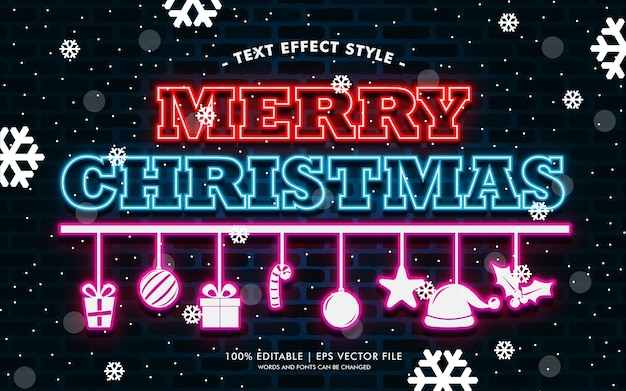 Frohe weihnachtsgeschenk neon text effects style