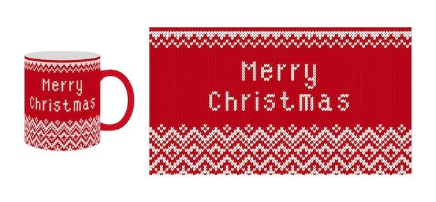 Frohe weihnachtsgrüße auf gestricktem strukturiertem muster. rotdruck stricken. hintergrund der weihnachtsmesse-insel.