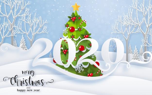 Frohe weihnachtsgrüße und schablonen des guten rutsch ins neue jahr 2020 mit schönem winter und schneefällen kopierten papierschnittkunst.