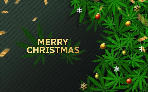 Frohe weihnachtsgrußkarte mit marihuanablättern