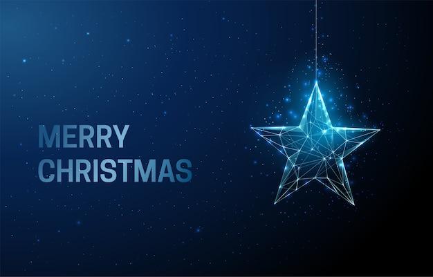 Frohe weihnachtsgrußkarte mit sternweihnachtsspielzeug