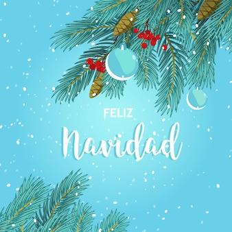 Frohe weihnachtsgrußkarte mit tannenzweigen und weihnachtskugeln