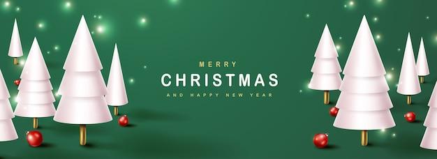 Frohe weihnachtsgrußkarte mit weihnachtsbaumdekoration
