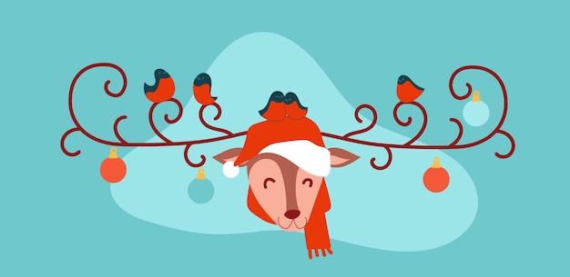 Frohe weihnachtshirsche im weihnachtsmannhut Premium Vektoren