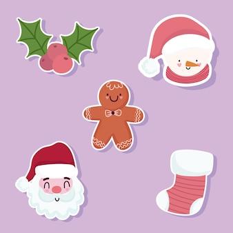 Frohe weihnachtsikonen setzen santa schneemann gesichter lebkuchenmann und socke