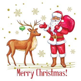 Frohe weihnachtskarte im skizzenstil