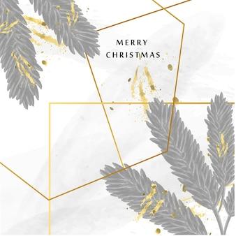 Frohe weihnachtskarte mit aquarell textur und goldener geometrischer form vektor trendiger hintergrund Premium Vektoren