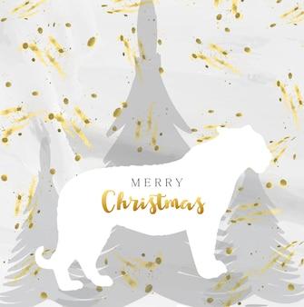 Frohe weihnachtskarte mit aquarell textur und silhouette tiger und tannenbäumen