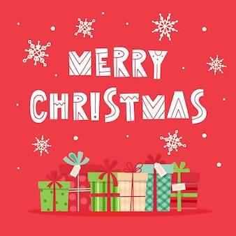 Frohe weihnachtskarte mit beschriftung und geschenken.