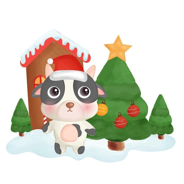 Frohe weihnachtskarte mit einer niedlichen kuh.